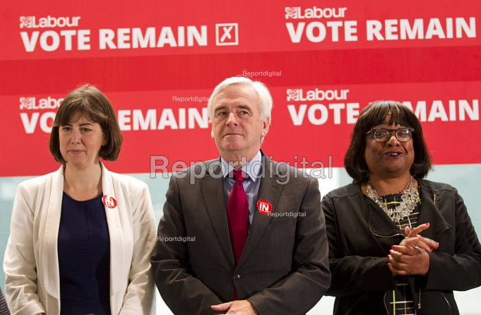 John McDonnell MP, Vote Remain referendum photo call, TUC Congress House, London. - Jess Hurd - 2016-06-14
