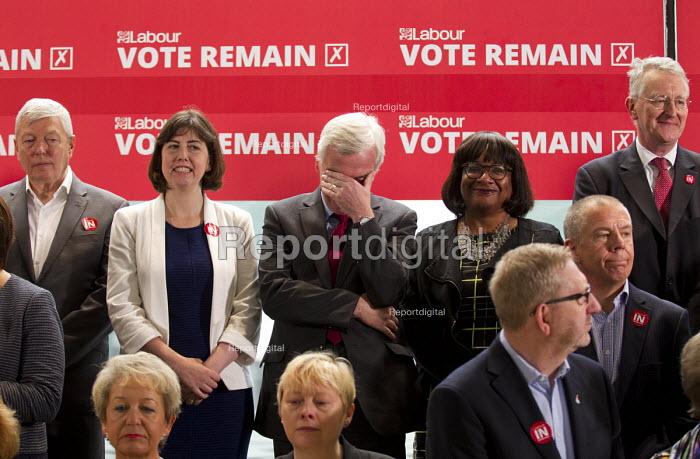 John McDonnell MP, Vote Remain referendum photo call, TUC Congress House, London. - Jess Hurd - 2016-06-14