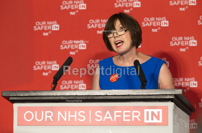 Frances O'Grady addresses health workers at TUC NHS safer in the EU rally. Congress House, London. - Jess Hurd - 2016-06-14