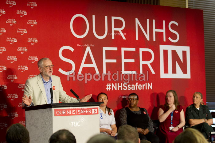 Jeremy Corbyn addresses health workers at TUC NHS safer in the EU rally. Congress House, London. - Jess Hurd - 2016-06-14