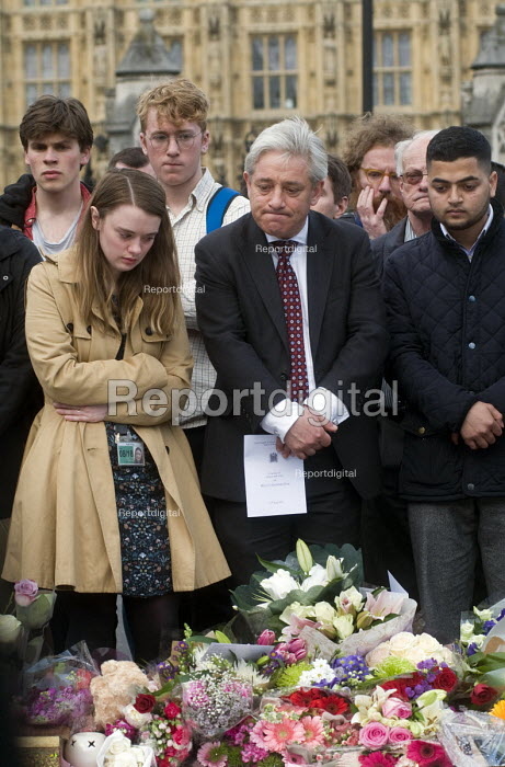 Vigil in Parliament Square for Jo Cox MP. John Bercow, Speaker of the House of Commons stands besides a visibly upset Parliamentary Assistant for Jo Cox MP at the House of Commons. Vigil in Westminster for murdered Labour MP, Jo Cox, London - Stefano Cagnoni - 2016-06-17