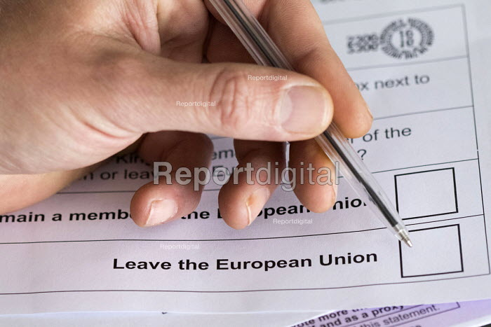 Filling in EU referendum postal vote - Paul Box - 2016-06-16