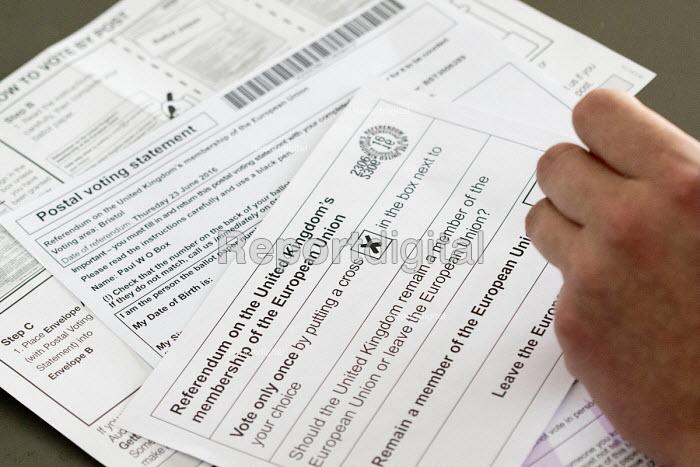 Filling in EU referendum postal vote - Paul Box - 2016-06-16