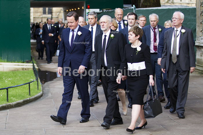 Jo Cox murder. David Cameron and Jeremy Corbyn leading MPs to St Margaret's Church for a service remembering murdered Labour MP Jo Cox, London - Jess Hurd - 2016-06-20
