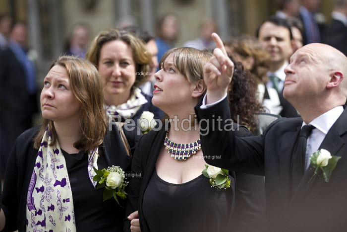 Jo Cox murder. Jess Phillips MP, a personal friend, looking up to the flag flying half mast. MPs attending a service remembering murdered Labour MP Jo Cox, St Margaret's Church London - Jess Hurd - 2016-06-20