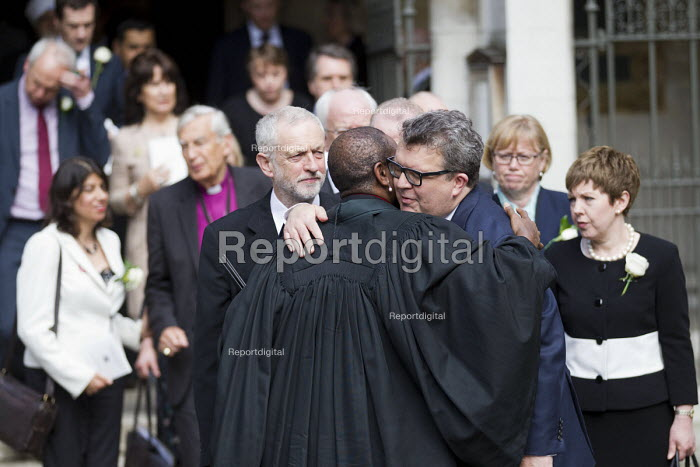Jo Cox murder. Tom Watson and Jeremy Corbyn MPs attending a service remembering murdered Labour MP Jo Cox, St Margaret's Church London - Jess Hurd - 2016-06-20