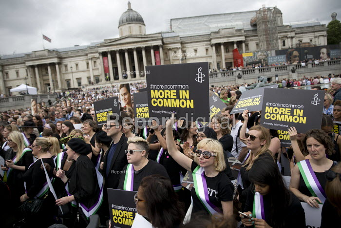 Amnesty International suffragettes join memorial event for murdered Labour MP, Jo Cox. Love Like Jo Trafalgar Square, London - Jess Hurd - 2016-06-22