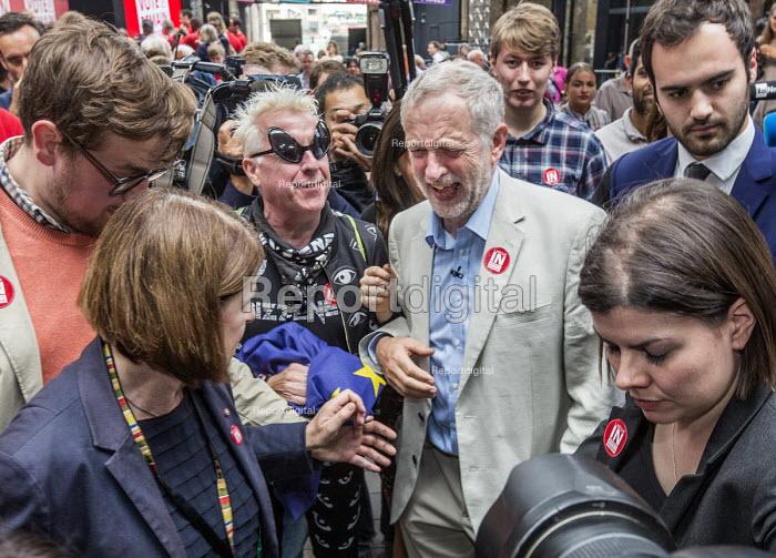 Jeremy Corbyn enjoying a joke after a Labour Party rally for Vote Remain in the EU, West Handyside Canopy, King's Cross, London - John Sturrock - 2016-06-22