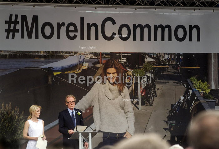 Memorial event to celebrate the life of murdered Labour MP Jo Cox. Love Like Jo, Trafalgar Square, London. Actor Bill Nighy speaking at the event with fellow actor Gillian Anderson by his side - Stefano Cagnoni - 2016-06-22