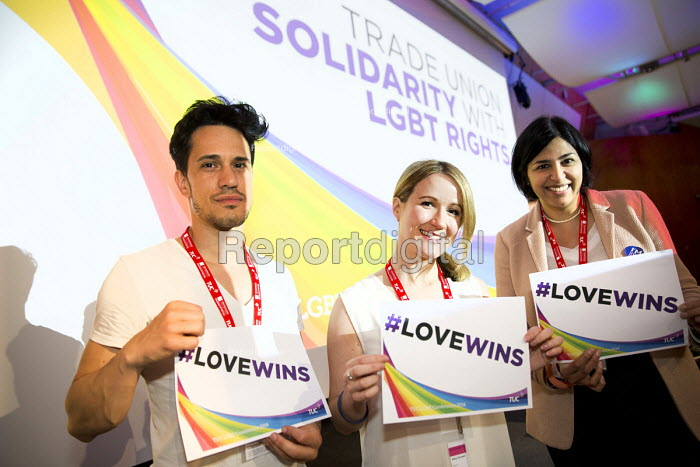 Giovanni Bienne, Amy Forest and Hamida Ali, Equity delegates TUC LGBT Conference, Congress House, London. - Jess Hurd - 2016-06-23