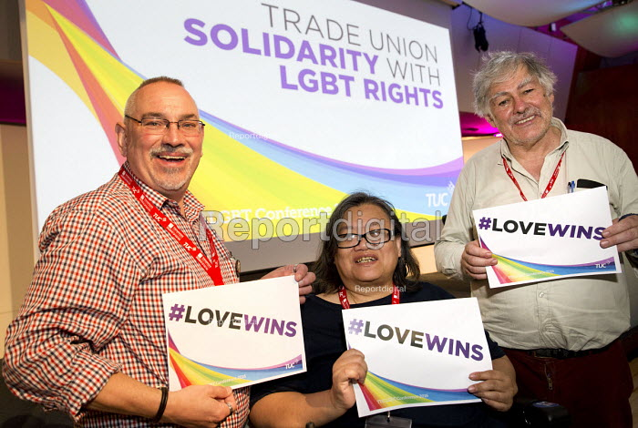 Adam Christie, Eleanor Lisney and Guy Thornton, NUJ delegates TUC LGBT Conference, Congress House, London. - Jess Hurd - 2016-06-23