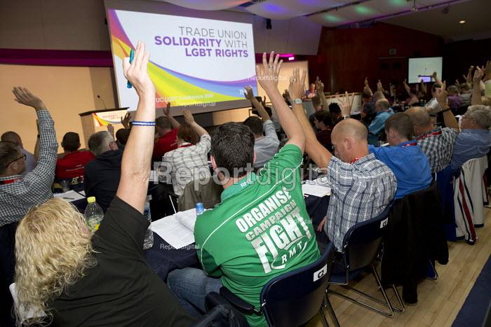 RMT delegation voting TUC LGBT Conference, Congress House, London. - Jess Hurd - 2016-06-23