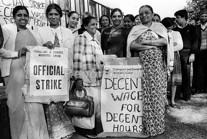Picket line at Britains Toy Factory, London, 1983. Asian women workforce striking over low pay and poor conditions, Blackhorse Lane, East London - Stefano Cagnoni - 1983-08-05