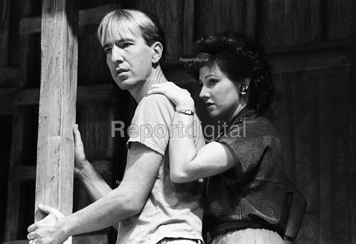 Alan Rickman and Leslee Udwin acting in The Grass Widow by Snoo Wilson, Royal Court Theatre, London, 1983 - Stefano Cagnoni - 1983-10-28