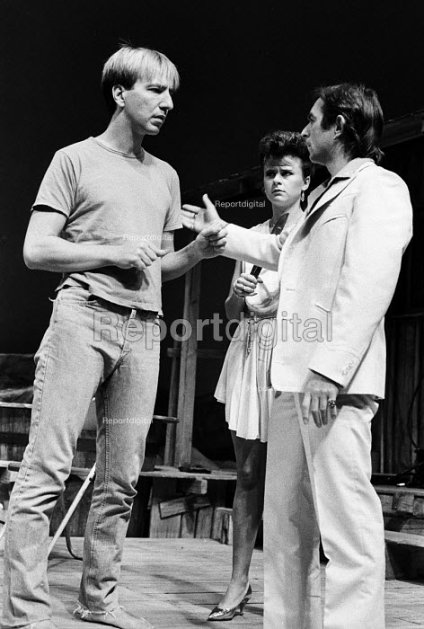 Alan Rickman, Tracey Ullman and Ron Cook acting in The Grass Widow, written by Snoo Wilson, Royal Court Theatre, London, 1983 - Stefano Cagnoni - 1983-10-28