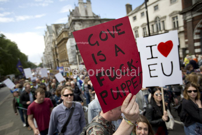 Anti Michael Gove placard, March for Europe against the Brexit EU referendum result, Central London - Jess Hurd - 2016-07-02