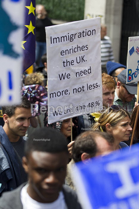 Pro immigration placard, March for Europe against the Brexit EU referendum result, Central London - Jess Hurd - 2016-07-02
