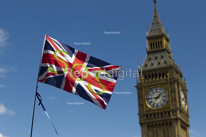 SOS peace symbol on a Union Jack flag, March for Europe against the Brexit EU referendum result, Central London - Jess Hurd - 2016-07-02