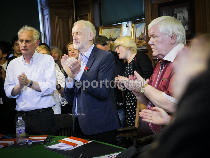 Durham Miners Gala 2016, Jeremy Corbyn and Dave Hopper DMA at an eve of gala public meeting at Redhills, the HQ of Durham area NUM Durham City, Co Durham. - Mark Pinder - 2016-07-08