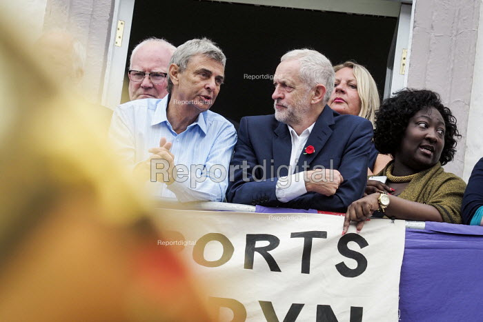 Durham Miners Gala 2016 Dave Prentis Unison and Jeremy Corbyn watching the procession from the balcony of the County Hotel, Durham, Co' Durham - Mark Pinder - 2016-07-09