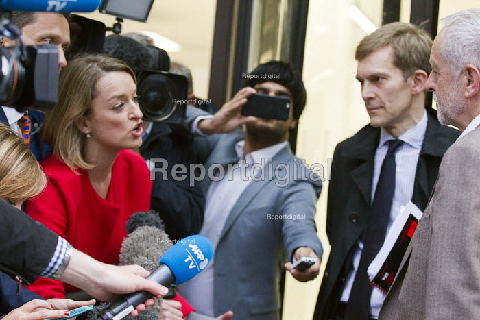 Laura Kuenssberg BBC questioning Jeremy Corbyn outside Labour Party HQ after NEC meeting agreed to include him on ballot for leadership challenge, London - Jess Hurd - 2016-07-12