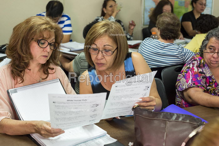 Las Vegas, Nevada - Immigrants studying for the U.S. citizenship test in a free class sponsored by the Culinary Union and the Clark County School District - Jim West - 2016-07-12