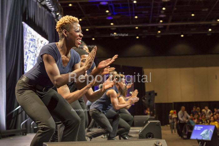 Detroit, Michigan - Step Afrika! a step dance ensemble, performing at the SEIU convention - Jim West - 2016-05-21