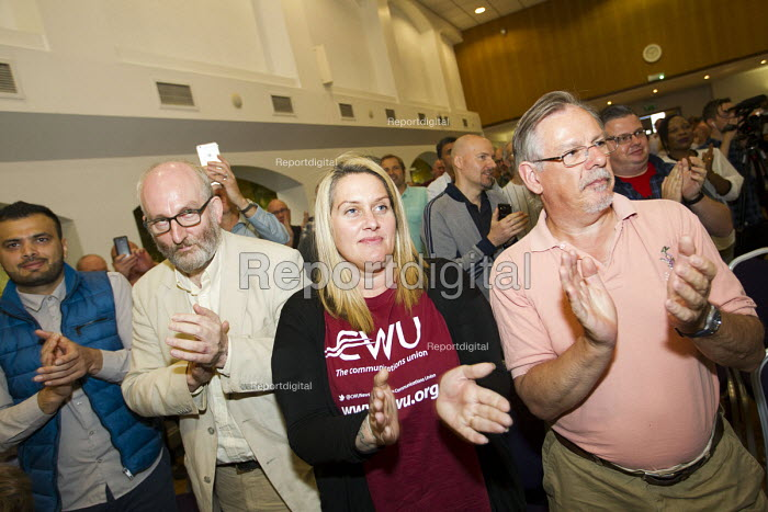 Dave Ward, CWU Gen Sec announcing Jeremy Corbyn as nominated candidate in the Labour leadership contest, Hamilton House, London. - Jess Hurd - 2016-08-01