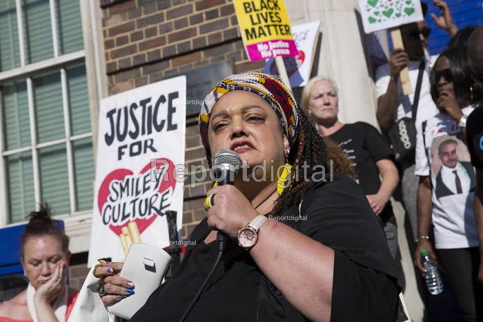 Zita Holbourne speaking Five years since the Tottenham Riots the Mark Duggan Justice Campaign Day of Action, Remembrance and Community Healing protest from Broadwater Farm to Tottenham Police Station, North London. - Jess Hurd - 2016-08-06