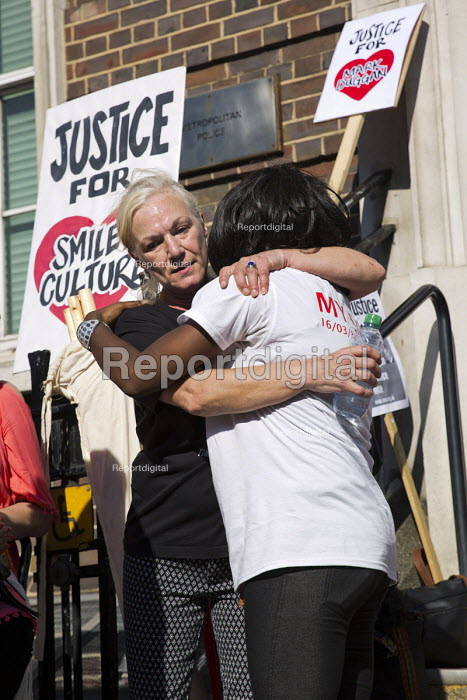Carol Duggan, aunt of Mark Duggan hugs mother of Jermaine Baker. Five years since the Tottenham Riots the Mark Duggan Justice Campaign Day of Action, Remembrance and Community Healing protest from Broadwater Farm to Tottenham Police Station, North London. - Jess Hurd - 2016-08-06