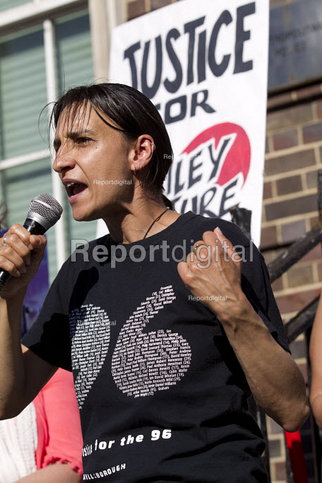 Becky Shah of Hillsborough Justice Campaign speaking Five years since the Tottenham Riots the Mark Duggan Justice Campaign Day of Action, Remembrance and Community Healing protest from Broadwater Farm to Tottenham Police Station, North London. - Jess Hurd - 2016-08-06