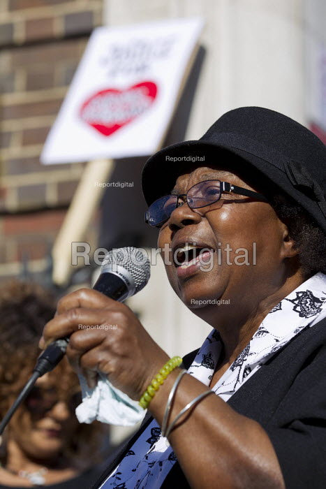 Myrna Simpson mother of Joy Gardner who was murdered by immigration police speaking. Five years since the Tottenham Riots the Mark Duggan Justice Campaign Day of Action, Remembrance and Community Healing protest from Broadwater Farm to Tottenham Police Station, North London. - Jess Hurd - 2016-08-06