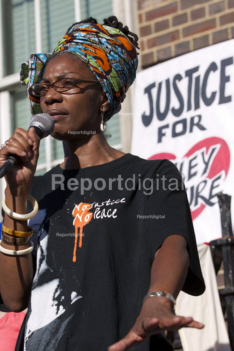 Marcia Rigg, sister of Sean Rigg speaking. Five years since the Tottenham Riots the Mark Duggan Justice Campaign Day of Action, Remembrance and Community Healing protest from Broadwater Farm to Tottenham Police Station, North London. - Jess Hurd - 2016-08-06