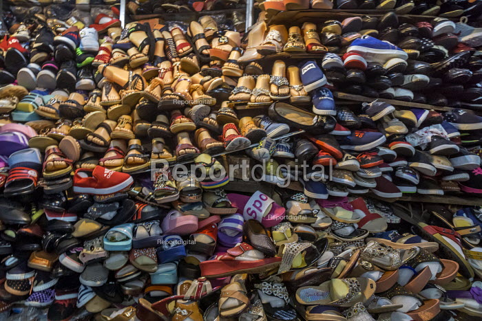 Siem Reap, Cambodia, shoes in the market - David Bacon - 2015-12-27