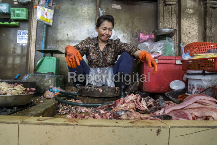Siem Reap, Cambodia, workers in the market, fishmonger filleting fish - David Bacon - 2015-12-27