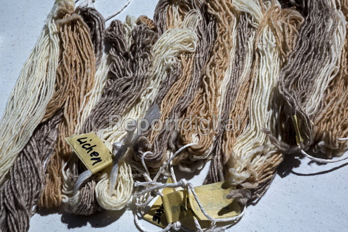 Ganado, Arizona, Navajo Nation, Wool that has been dyed with a variety of natural substances, including lichen, sagebrush, wild carrots, and nuts. Wool and Weaving Workshop, Hubbell Trading Post National Historic Site - Jim West - 2016-07-10
