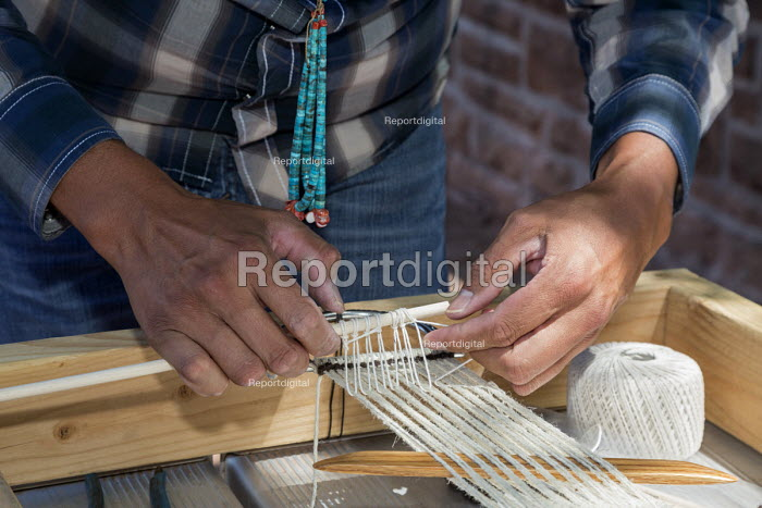 Ganado, Arizona, Navajo Nation, weaving a horse cinch. Wool and Weaving Workshop, Hubbell Trading Post National Historic Site - Jim West - 2016-07-10