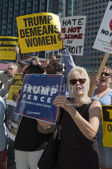 Detroit, Michigan - About a dozen Donald Trump supporters mixed with several hundred against an appearance by Republican Presidential candidate Donald Trump at the Detroit Economic Club - Jim West - 2016-08-08