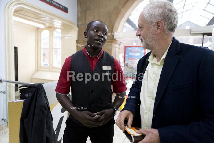 Jeremy Corbyn meeting staff at the railway station, leadership election rally, Hanley, Stoke on Trent - John Harris - 2016-09-01