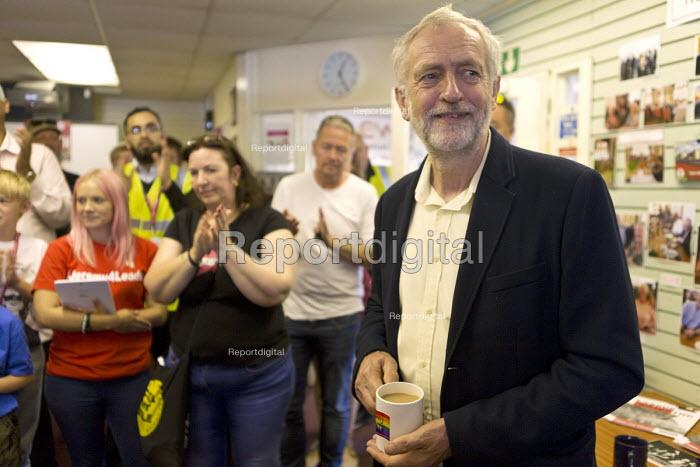 Jeremy Corbyn talking to trade union members, CWU office, leadership election rally, Hanley, Stoke on Trent - John Harris - 2016-09-01