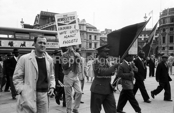 Anti fascist protest to Trafalgar Square 1959 after the Notting Hill race riots of 1958 and the unsolved murder by suspected racists of Kelso Cochrane and the Oswald Mosley Union Movement fascist supporters stirring unrest in west London. - Alan Vines - 1959-06-07