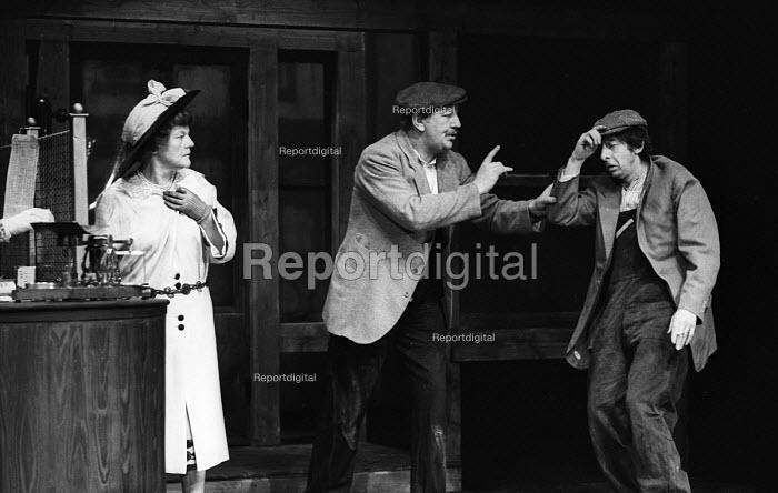 A Pound On Demand, written by Sean O'Casey, Mermaid Theatre, London, 1967. Elizabeth Begley as the Woman, Jack Macgowran as Sammy and Barry Keegan as Jerry. - Patrick Eagar - 1967-04-06