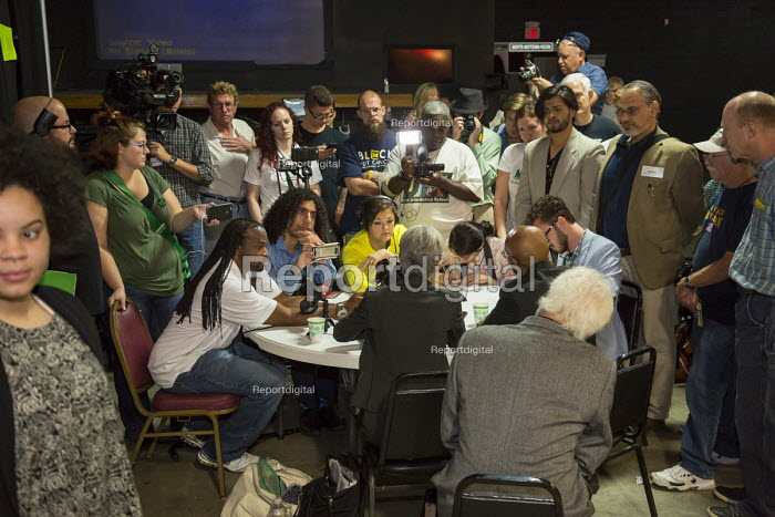 Detroit, Michigan USA Green Party presidential candidate Jill Stein responding to a questions at a press conference. - Jim West - 2016-09-03