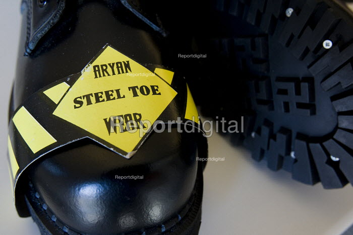 Aryan Steel Toe Wear, boots with swastikas on the sole. Montgomery, Alabama. The USA has seen a dramatic increase in white supremacist organisations and racist attacks against immigrants in the last few years, especially in the Southern States - Jess Hurd - 2008-06-19