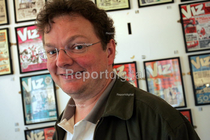 Chris Donald, co-founder of Newcasle based Viz Comic. Newcastle Upon Tyne. - Mark Pinder - 2004-08-26