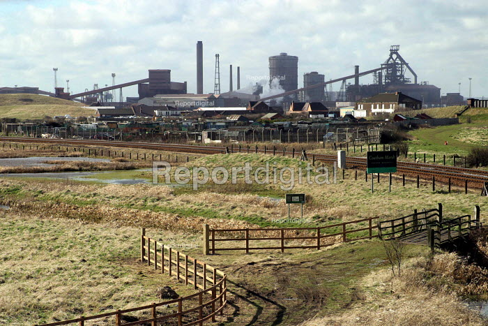 Corus Teesside steelworks, Redcar Co' Cleveland with Coatham Marsh nature researve is in the forground. - Mark Pinder - 2003-03-11