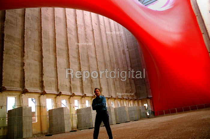 Artist and Turner Prize winner Anish Kapoor beneath his sculpture Tarantara. Baltic flour Mill, Gateshead which is being turned into a gallery for contemporary art, due to open Autumn 2001... - Mark Pinder - 1999-06-15