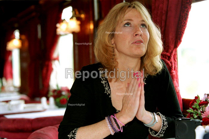 Author of the Harry Potter books, JK Rowling, on board the Hogwarts Express 10/7/2000. - Mark Pinder - 2000-07-10
