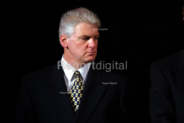 Former policeman Ray Mallon, dubbed Robocop who was the pioneer of Zero Tolerance policing in Britain at Middlesbrough Town Hall for the election count which will return him as the first elected mayor of the town. - Mark Pinder - 2002-05-03