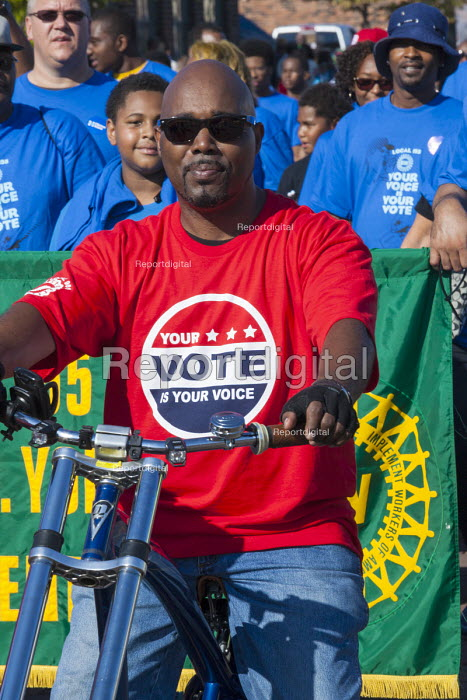 Detroit, Michigan, Members of the UAW marching in the Labor Day parade, campaigning for members to turn out to vote in the 2016 presidential election. - Jim West - 2016-09-05
